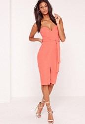 Missguided Bandeau Tie Waist Midi Dress Pink Peach