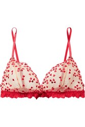 Hanky Panky Heartthrob Embroidered Tulle And Lace Soft Cup Bra X Small