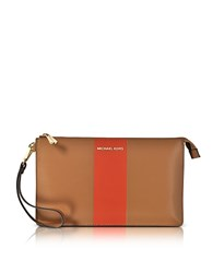 Michael Kors Acorn And Orange Large Daniela Center Stripe Leather Zip Clutch Brown