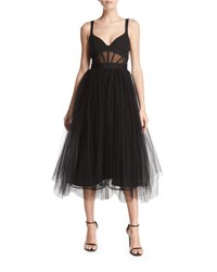 Cinq A Sept Evangeline Bustier Style Tulle Gown Black