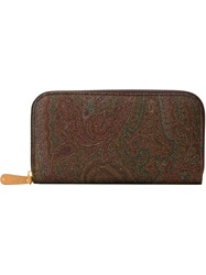 Etro Paisley Print Zip Around Wallet Multicolour