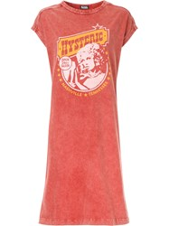 Hysteric Glamour Logo Print T Shirt Dress Cotton Red