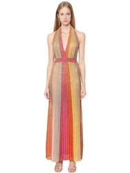 M Missoni Lurex Knit Low Cut Open Back Dress