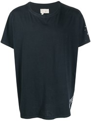 Greg Lauren Sleeve Print T Shirt Blue