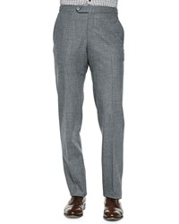 Isaia Wool Flannel Trousers Gray