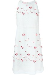 Giamba Butterfly Appliqua Dress White