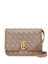 Burberry Medium Monogram Print Leather Tb Bag Neutrals