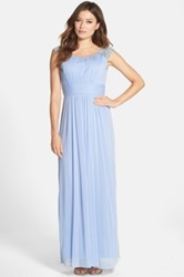 Patra Embellished Ruched Chiffon Gown Blue