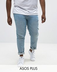 Asos Plus Skinny Jeans In Light Wash Light Wash Blue