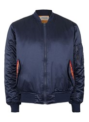 Topman Blue Finds Navy Embroidered Flame Bomber Jacket