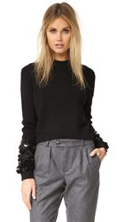 Mcq By Alexander Mcqueen Cluster Beaded Crew Sweater Darkest Black