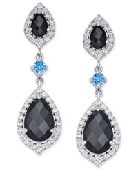 Macy's Onyx 1 Ct. T.W. And Swarovski Zirconia Drop Earrings In Sterling Silver Black