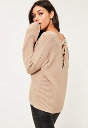 Missguided Camel Lace Up Back Knitted Jumper