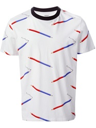 Au Jour Le Jour Pencil Print T Shirt White