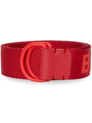 Burberry Logo Detail Double D Ring Belt Red