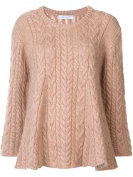 Ryan Roche Cable Knit Jumper Nude And Neutrals