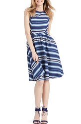 Women's Donna Morgan Stripe Denim Fit And Flare Dress