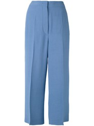 Sportmax Cropped Trousers Women Viscose 46 Blue