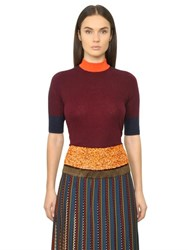 Tory Burch Meghan Color Blocked Cashmere Sweater