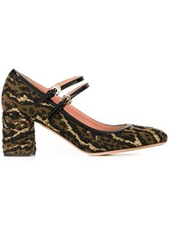 Rochas Leopard Pattern Pumps Metallic