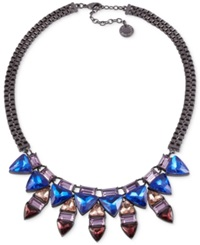 French Connection Hematite Tone Triangle Stone Alternating Frontal Necklace Multicolor
