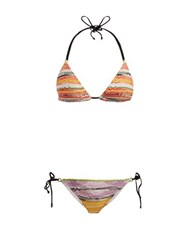 Missoni Mare Crochet Knit Triangle Bikini Set Yellow Multi