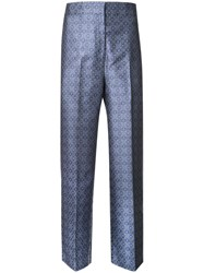 H Beauty And Youth Jacquard High Waisted Trousers Blue