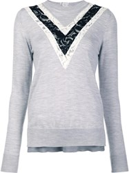 Adam By Adam Lippes Lace Inset Jumper Grey