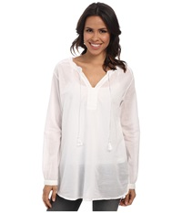 Jag Jeans Clara Cotton Voile Relaxed Fit Tunic White Women's Blouse