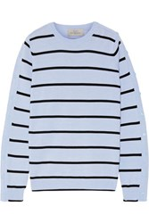 Preen By Thornton Bregazzi Ada Striped Wool Blend Sweater Sky Blue