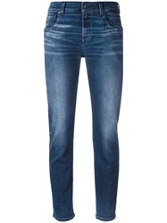 7 For All Mankind Light Wash Cropped Jeans Blue
