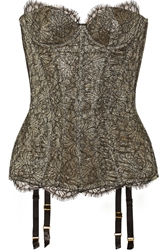 Agent Provocateur Shina Lace And Metallic Crepe Corset