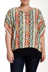 Halo Printed Lace Up Blouse Plus Size Multi