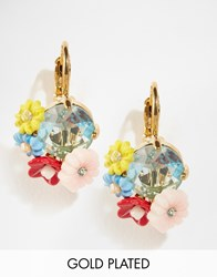 Les Nereides Floral Jewel Drop Earrings Multi