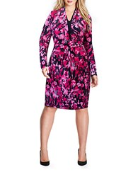 Mynt 1792 Plus Floral Mock Wrap Dress Dark Purple