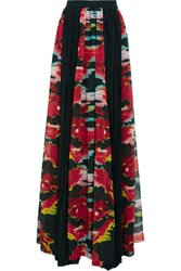 Just Cavalli Pleated Printed Georgette Maxi Skirt Multi