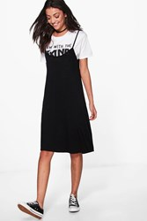 Boohoo Liya Cami Swing Dress Black