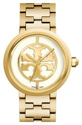 Women's Tory Burch 'Reva' Logo Dial Bracelet Watch 36Mm Gold Ivory
