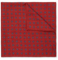 Anderson And Sheppard Floral Print Wool Pocket Square Claret