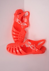 Missguided Flat Jelly Shoes Neon Coral Neon