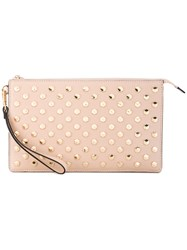 Michael Michael Kors Studded Clutch Women Leather Cupro Metal One Size Nude Neutrals