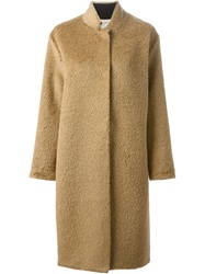 Forte Forte Furry Single Breasted Coat Brown