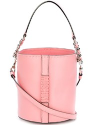 Moschino Logo Plaque Bucket Tote Pink And Purple