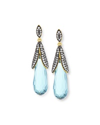Freida Rothman Belargo 14K Vermeil Cz Long Oval Teardrop Earrings