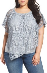Democracy Plus Size Women's Lace Overlay Top