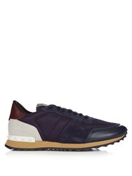 Valentino Rockrunner Mesh And Suede Low Top Trainers Navy Multi