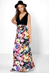 Boohoo Millie Rose Print Maxi Dress Multi