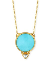 Gurhan Amulet Hue Sleeping Beauty Turquoise And Diamond Pendant Necklace
