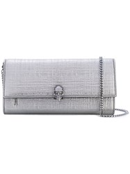 Alexander Mcqueen Skull Wallet With Chain Women Calf Leather One Size Grey