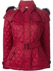 Burberry Brit Trimmed Hood Quilted Jacket Red
